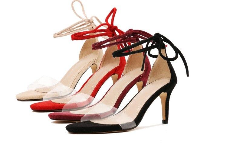 Xianyiduo2019 летняя модная пикантная женская обувь винно Красные босоножки с закрытой пяткой, прозрачный высокий каблук, большие размеры 40 46, отк... - 5