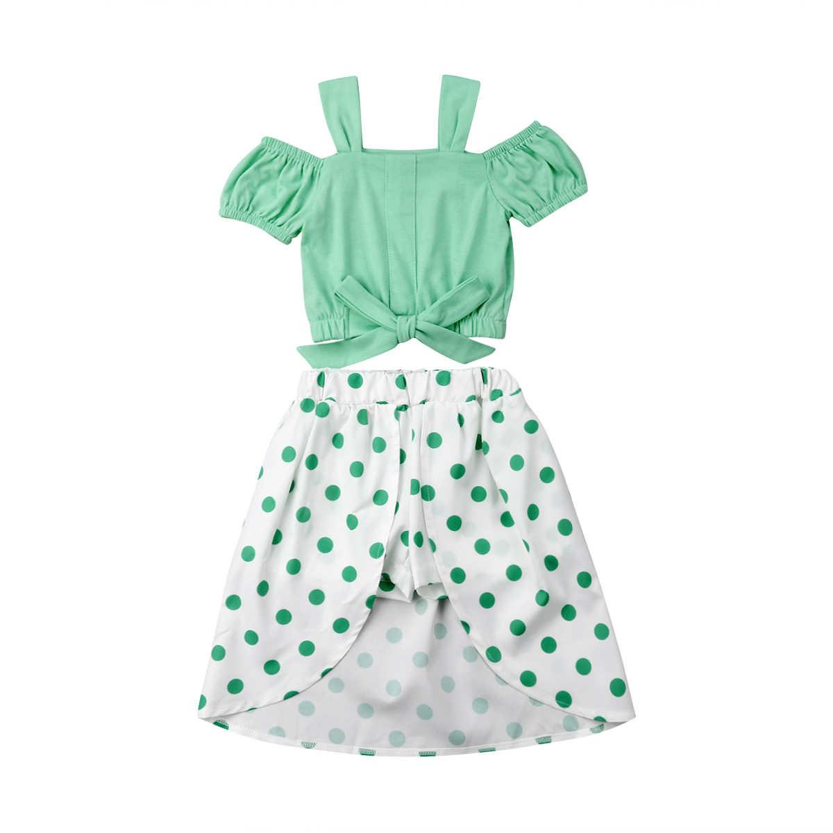 Летняя одежда для маленьких девочек из 2 предметов топы с открытыми плечами +