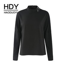 HDY Haoduoyi 2019  Simple Commuting Pure Colour Lapper Neck Semi-high Collar Invisible Zipper Pullover Shirt