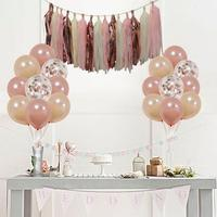 Rose Gold Confetti Balloon Set Tablecloth Rain Silk Curtain Party Supplies Balloon Decorations Set