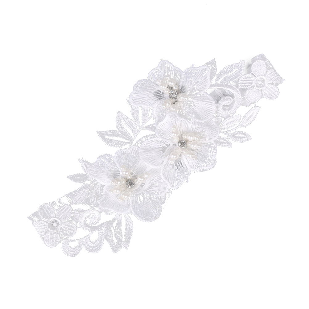 Reasonable Bridal Garters White Embroidery Floral Rhinestone Flower Sexy Wedding Garters For Bride Vogue Lace/rubber Band Leg Garters Wg020 Garters Women's Intimates