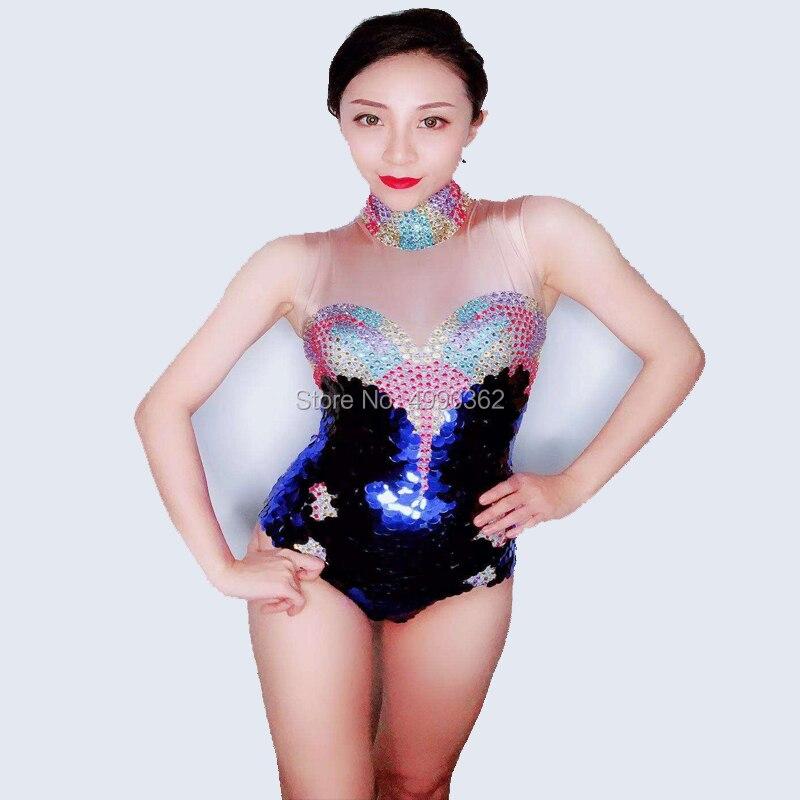 2019 femmes nouveau brillant strass body Sexy coloré paillettes stretch sans manches courte une pièce scène costumes célébrer