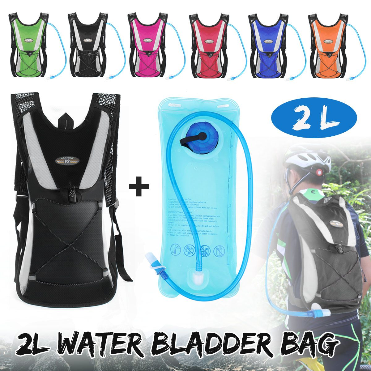 2L 6 Color Outdoor Portable Water Bladder Bag Hydration Backpack Sports Camping Hiking For Cycling Bicycle Hiking Bike Mountain