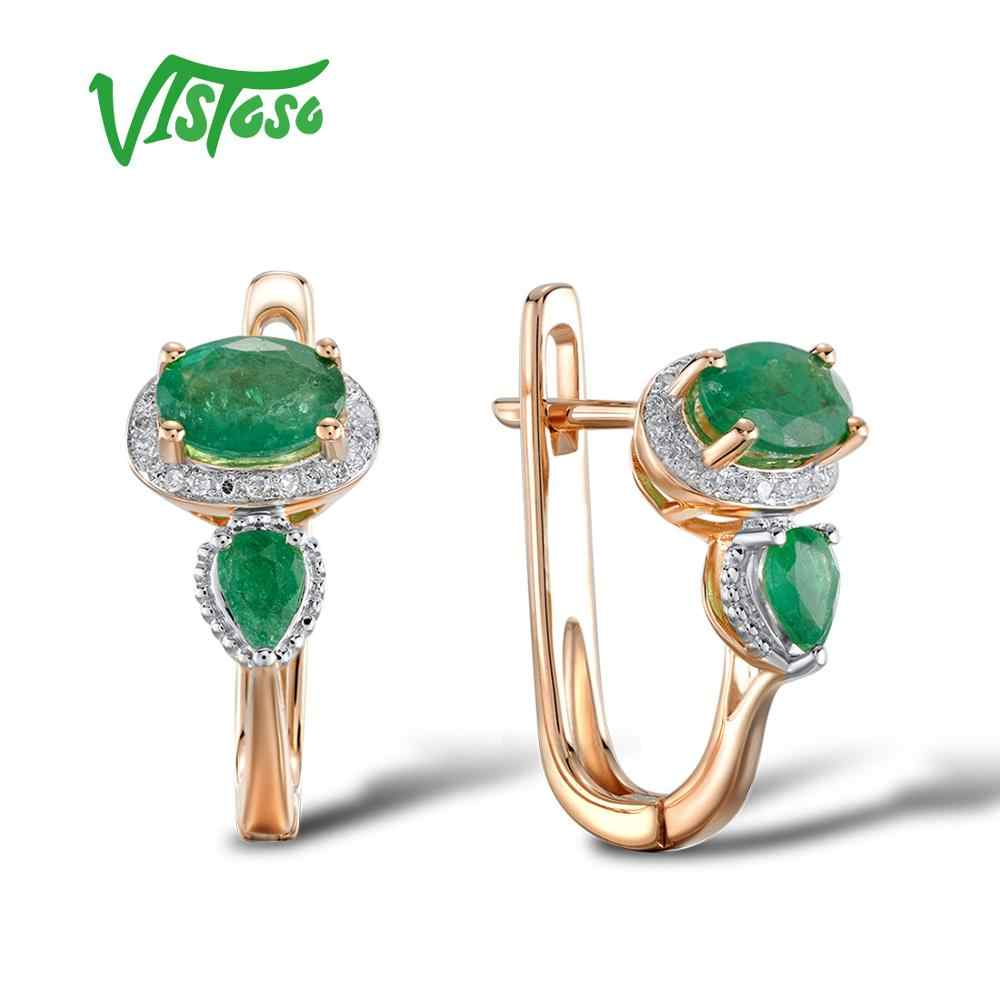 0d54c167cb11 VISTOSO Gold Earrings For Women 14K 585 Rose Gold Glamorous Elegant Shiny  Emerald Sparkling Diamond Luxury