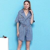 Playsuit women 2019 summer elastic waist slim denim playsuits feminino NW19B6008