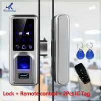 Fingerprint door lock Glazing Smart Lock Remote Touch Screen Doorbell Office for Glass biometric Door lock access control
