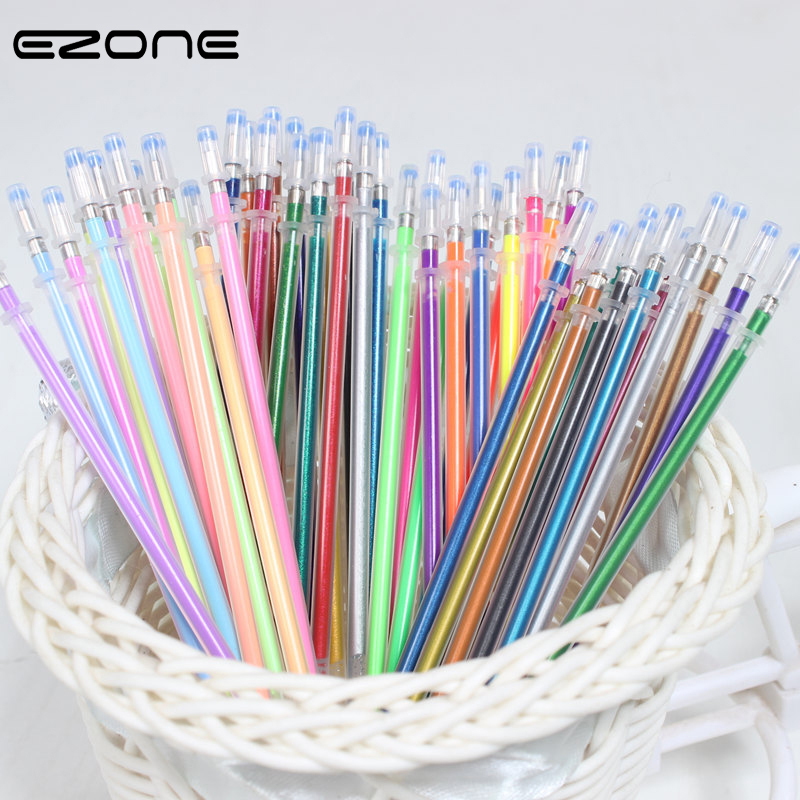 EZONE 12/24/36/48 Colors Flash Gel Pen Highlight Cute Candy Color Full Shinning Refill For Children Painting Graffiti Art Supply