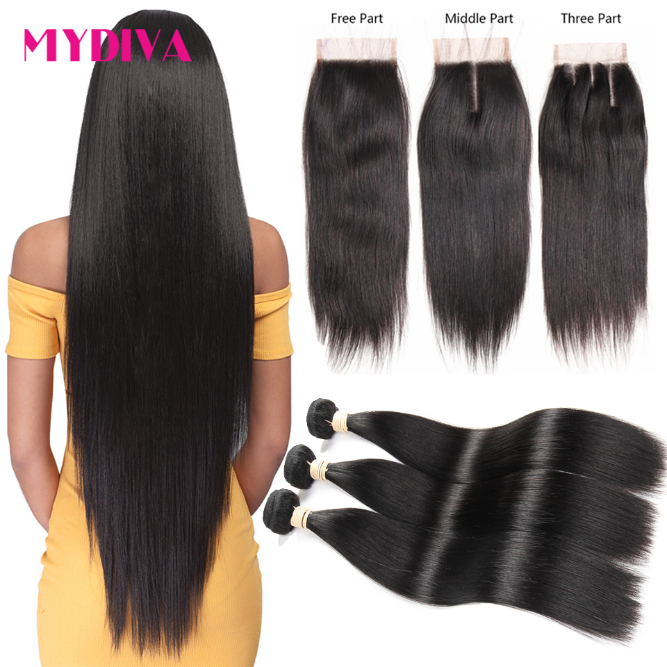 Mydiva Bundles Closure Hair-Extension Brazilian Straight With Non-Remy Lot 4PCS