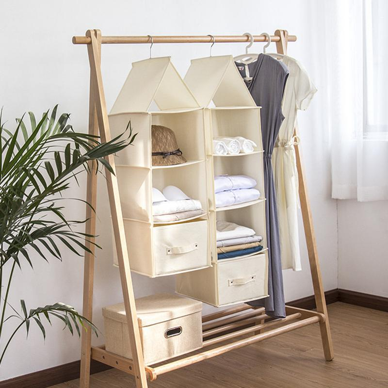Independent 5 Section Shelves Hanging Wardrobe Shoe Garment Organiser Storage Clothes Tidy Household Supplies & Cleaning Home & Garden
