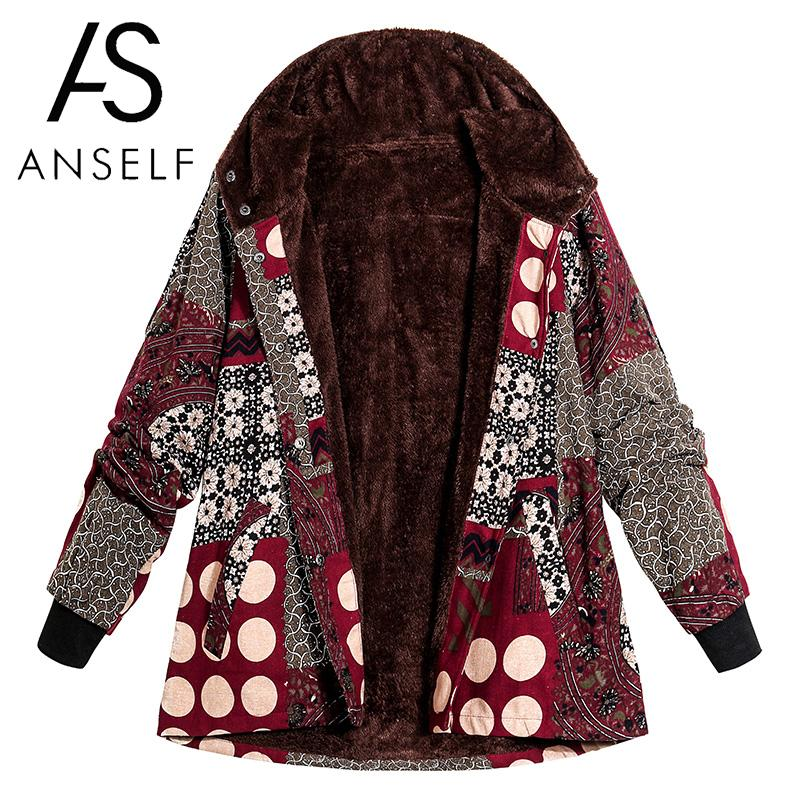 2019 Winter Vintage Women Print Hooded Coat Plus Size Parka Fleece Lined Press Stud Long Sleeve Manteau Outerwear   Basic     Jacket