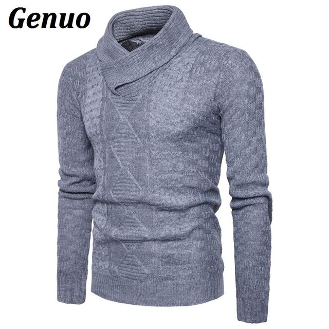 Winter High Neck Thick Warm Sweater Men Turtleneck Genuo Mens Sweaters Slim Fit Pullover Men Knitwear Male Double Collar Sweater