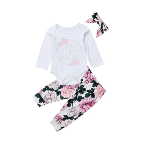 b26911fedb67 Baby Girls Clothing Little Sister Long Sleeve Bodysuit Floral Pants  Headbands 3pcs Cute Cotton Outfits Set Clothes Baby 0-18M