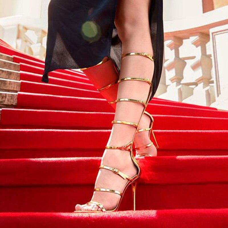 960077a19642df Mujer Rouge Bout À As Étoiles Ouvert Sandales Haute Stiletto Tapis Genou  Harmonie Show as Femmes Show 2018 Hauts Bottes ...