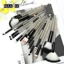 MAANGE-brocha Sets de pinceles de maquillaje para polvos y base, delineador de ojos, sombra de ojos, herramienta cosmética profesional, 18/10 Uds.