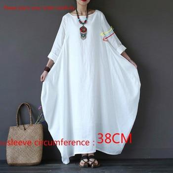2020 Summer autumn Plus Size Dresses Women 4xl 5xl Loose long vintage Dress Boho Shirt Dress Maxi Robe fashion Female Q293 2
