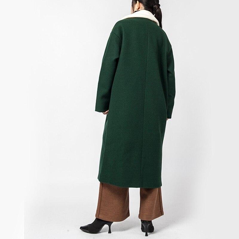 Green Blackish Long Nouveau 2019 Parkas Longues Lâche Lareg Manches Femmes De Mode Laine eam Taille Jl163 Marée Hit Couleur Hiver Revers Printemps Manteau B1dS55vnx