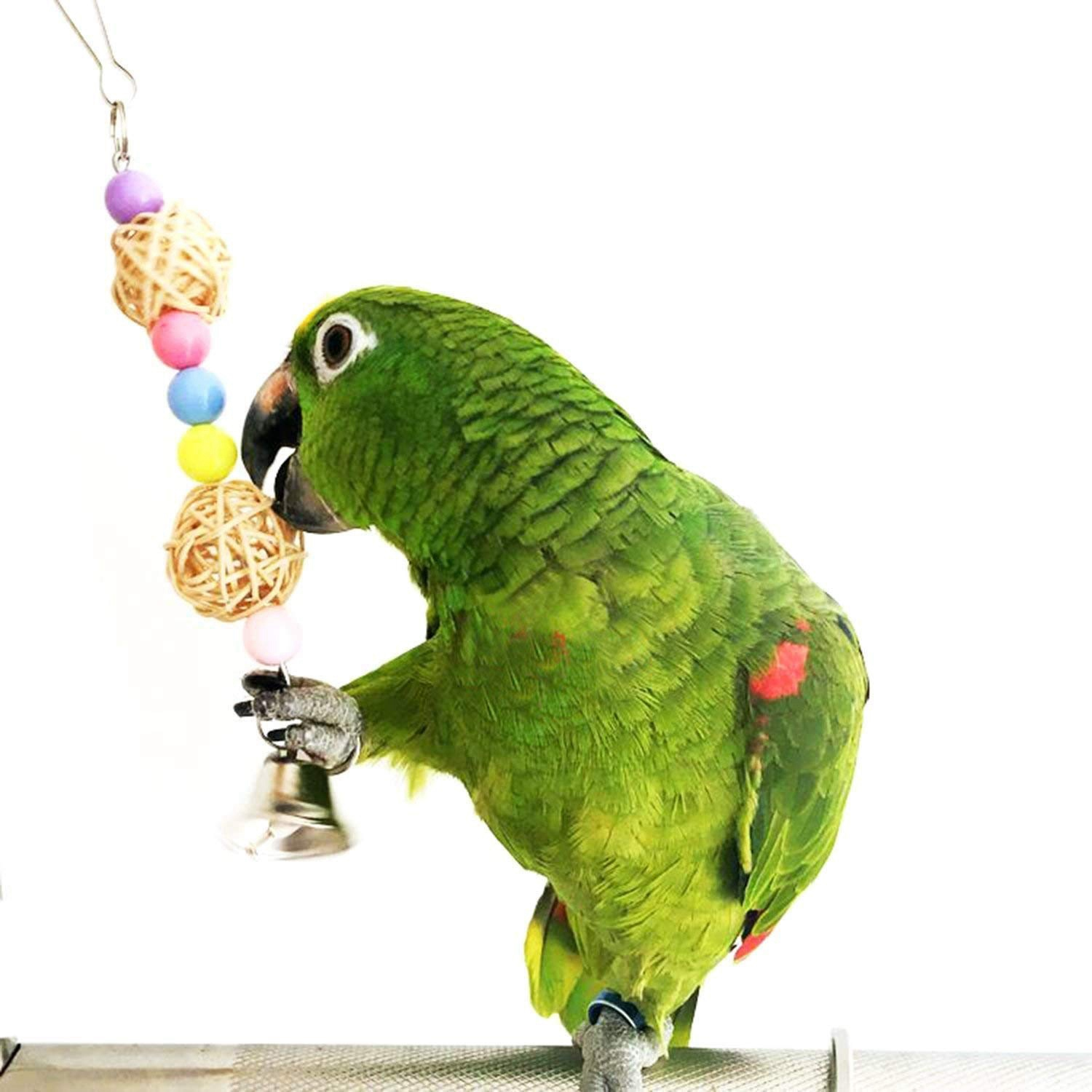Plastic Bird Swing Toys Bell Colorful Natural Wood Hammock Hanging Perch Small Medium Birds Parakeets Cockatiels Conures in Bird Toys from Home Garden