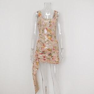 Image 5 - Karlofea אלגנטי פרחוני נצנצים חצאיות נשים שיק סימטרי קדמי זרוק עטוף מיני לעטוף חצאית סקסית מועדון מסיבת תלבושות חצאית