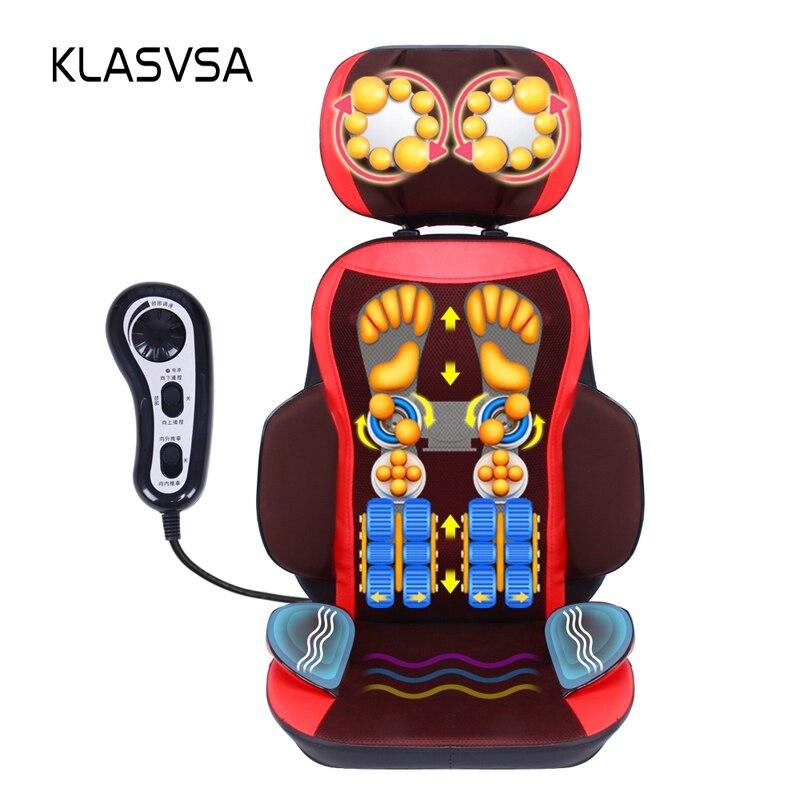KLASVSA Vibração Elétrico Massageador de Volta Cadeira Almofada Shiatsu Pescoço Cevical Cintura Lombar Amassar Almofada Home Office Assento de Terapia
