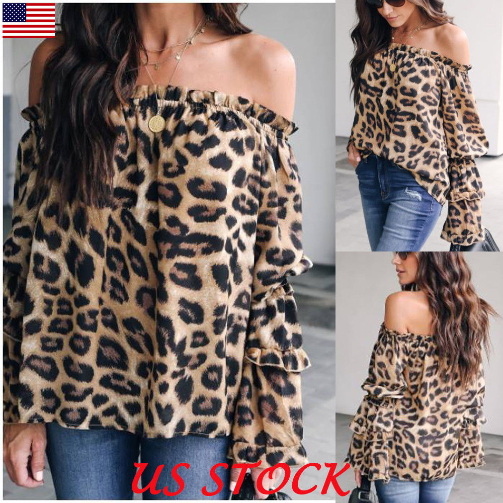 Fashion Womens 2019 Off Shoulder Autumn Sexy Blouse Shirts Clubwear Ladies Summer Loose Leopard Print Long Sleeve Tops Blouses blusa sexi animal print