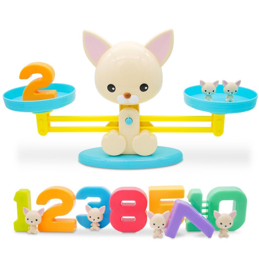 Numéro de maths Balance d'équilibrage Figure animale au-dessus de 5 ans d'apprentissage enfants éducation jouets Balance ensemble décontracté