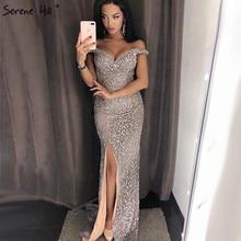 Prata fora do ombro split luxo sereia vestidos de noite 2020 diamante miçangas moda sereno hill la6653