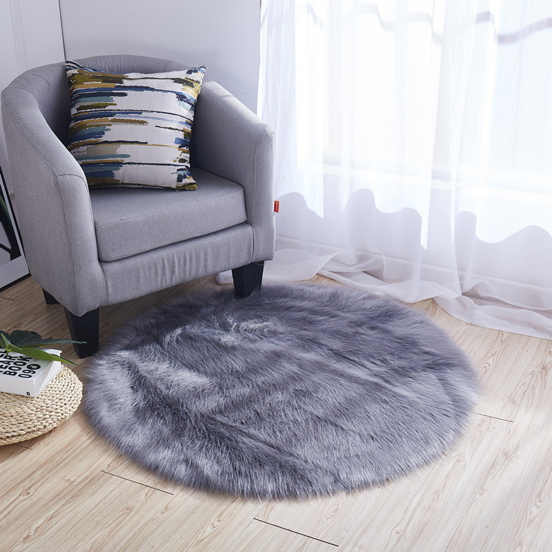 Brief Solid Imitation Wool Round Carpet for Living Room Soft Non-slip Suede Back Kids Bedroom Rug Chair Cushion Home Mat tapete