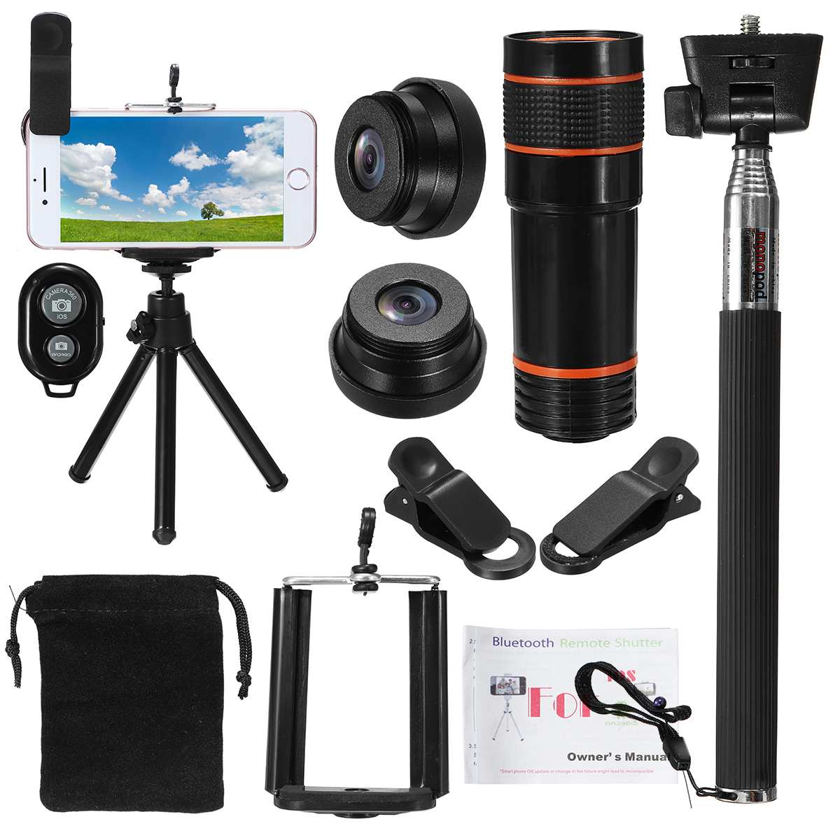 Uninversal All in 1 Accessories Phone Camera Lens Travel Kit