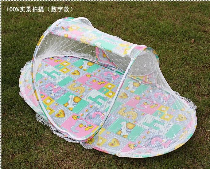 2016 جديد طوي المحمولة الطفل الرضيع سرير الستارة الأزرق الوردي ناموسية مع لحاف القطن مبطن فراش وسادة خيمة