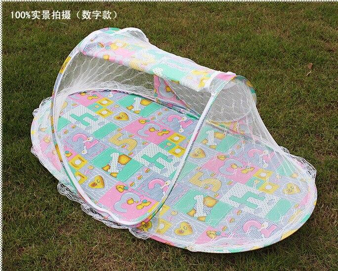 2016 Neue Faltbare Tragbare Baby Infant Bett Baldachin Blau Rosa Moskito Net Mit Eine Quilt Baumwolle-gepolsterte Matratze Kissen Zelt