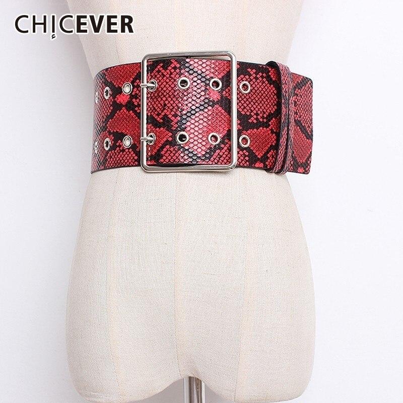 CHICEVER Autumn Print Hit Colors Belts For Women Wide Waistband High Waist PU Leather Belt Female Dress Accessories Fashion Tide
