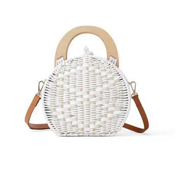 70a36aa3765b Круглая ротанговая пляжная маленькая сумка на одно плечо через плечо ручные  сумки для Женские Ручная тканая наружная сумка-тоут