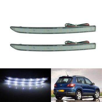 цена на ANGRONG 2x Clear Lens LED Rear Bumper Reflector Tail Stop Brake Light For VW Tiguan 5N 08+