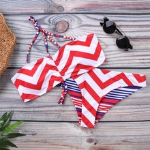 Sexy Women Swimwear Striped Push Up Bikini Set Female Bandeau With String Adjustable Swimsuit Low Waist Swim Suits Lady Biquini string striped bikini set with tassel
