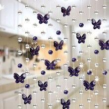 1 м Романтическая Свадебная декоративная занавеска для гостиной, элегантная домашняя Хрустальная стеклянная занавеска, занавеска для окна, водослива, дизайн с бабочкой