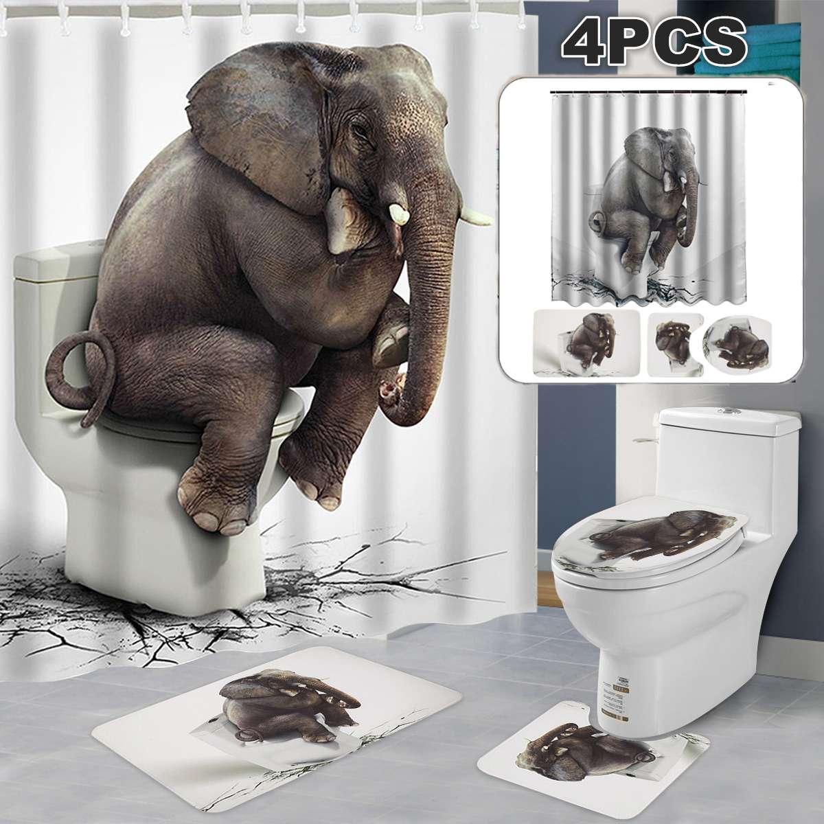 Honana Bathroom 4 Pieces/set Rug Mats Shower Curtain 1.8*1.8m Set 3d Elephant Flannel Soft Anti-slip Shower Toilet Rug Floor Mat Moderate Price Home