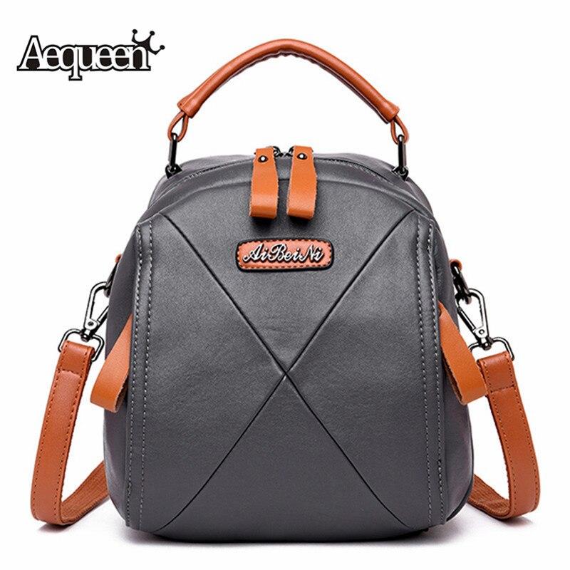 AEQUEEN  Female Mini Knapsack Women Backpack Genuine Leather School Bag Designer Back Pack For Girl Small Crossbody Bags  Bolsa