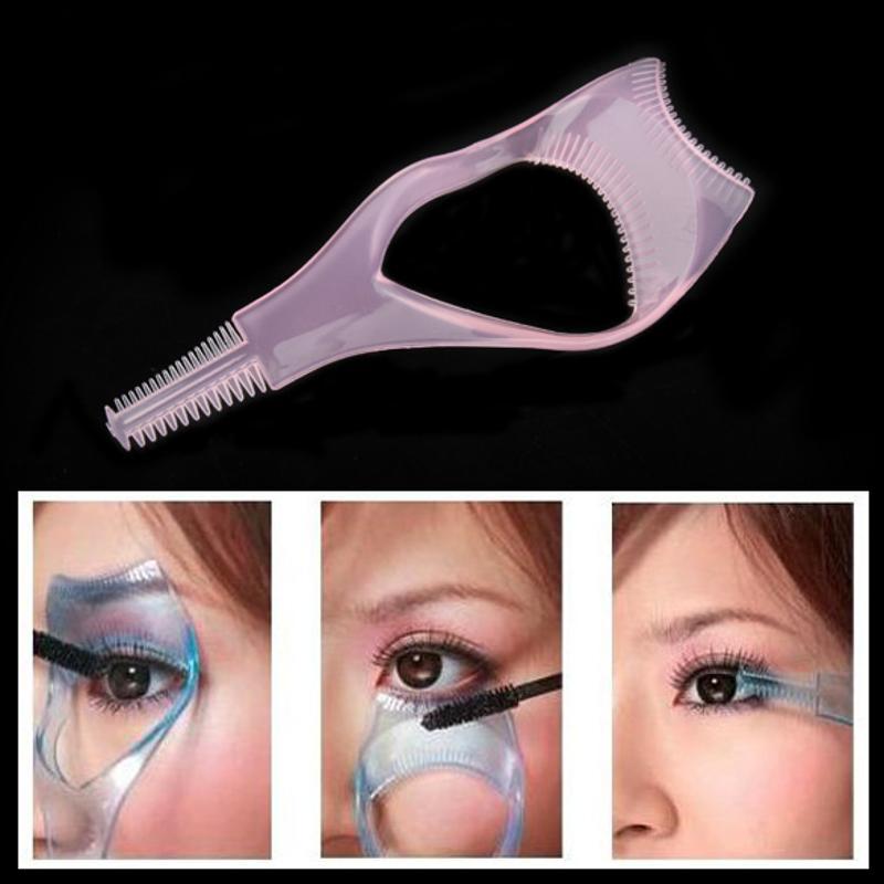 3 In 1 EyeLash Curler Mascara Brush Applicator Guid Comb Multifunction Cosmetic Eye Makeup Curler Aid Tool Help Brushing Eyelash
