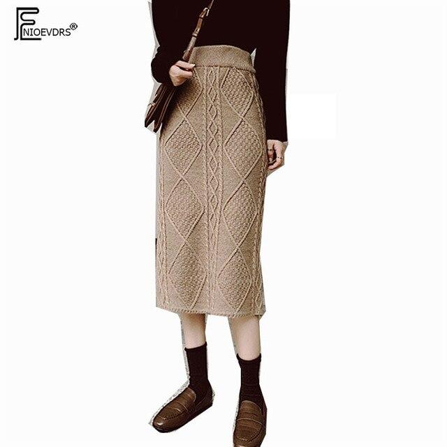 f7e2714d0f Winter Skirt Hot Sales Women Fashion Korean Style Design Cute Sweet Girls  Brown High Waist Knit