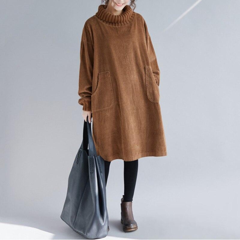 BUYKUD Femmes Coton En Velours Côtelé Robe Casual Hiver Solide Haute Col Roulé Lâche Style Plus Taille Élastique Manchette Poches Femmes Robe