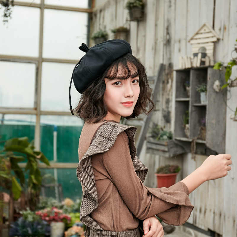 2019 новый стиль весна осень хлопок Винтаж теплый зимний женский берет французский художник шапочка Джокер японский стиль берет