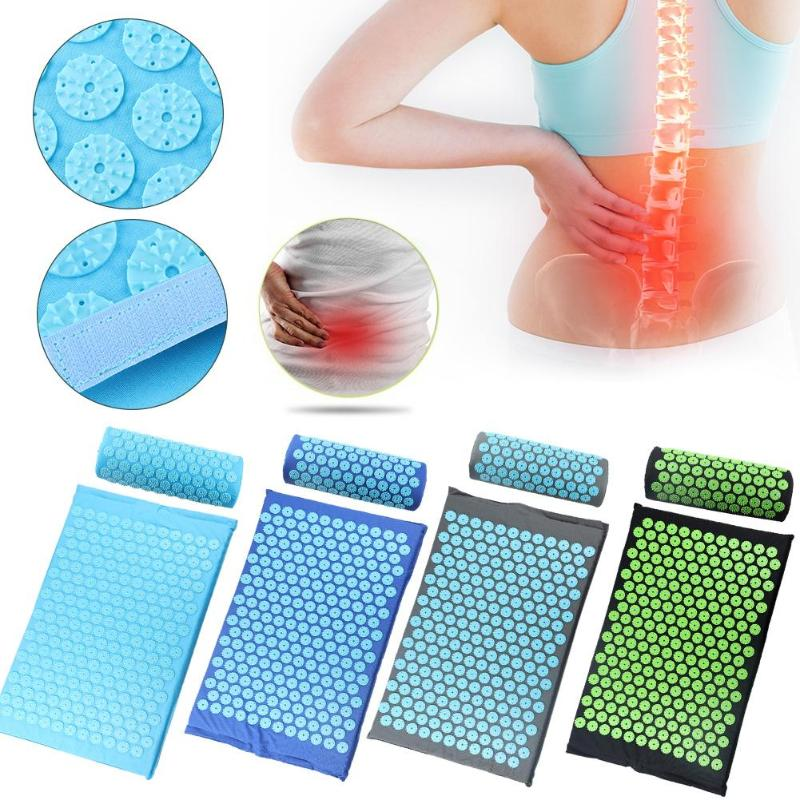 Acupressure Massager Cushion Massage Mat Relaxation Relieve Back Body Pain Spike Mat Acupuncture Massage Yoga Mat With Pillow