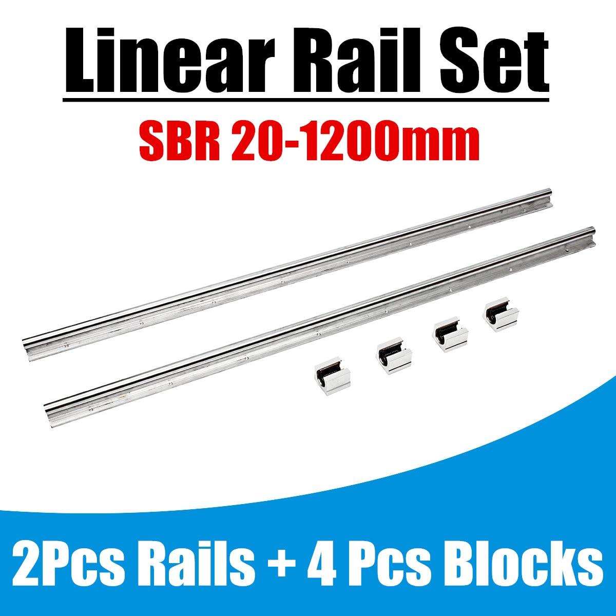 2 pcs/ensemble SBR20 1200mm Rail Linéaire Palier lisse Guides Arbre Kit avec 4 pcs SBR20UU Bloc De Palier En Alliage D'aluminium matériel 20mm