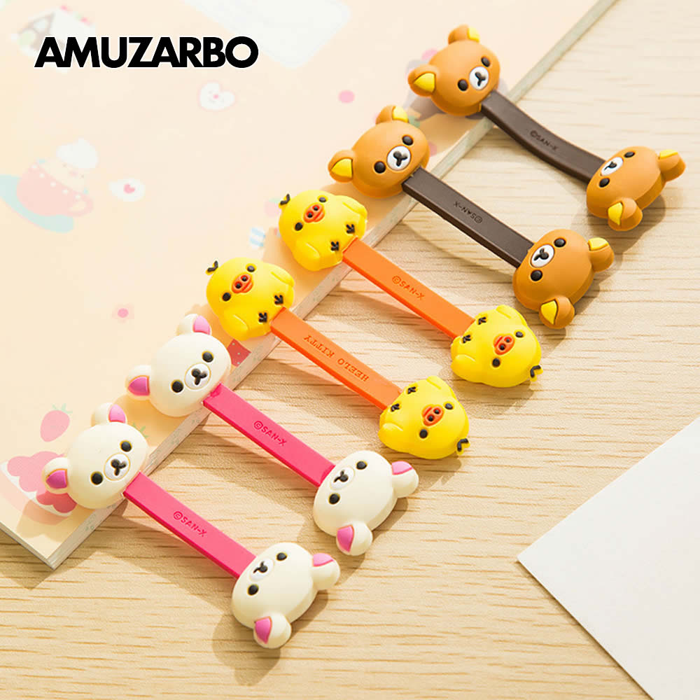2pcs/lot Cartoon Double-headed Cable Winder Brown Bear Yellow Chick Headphone Cable Wire Storage Office Desk Cable Organizer
