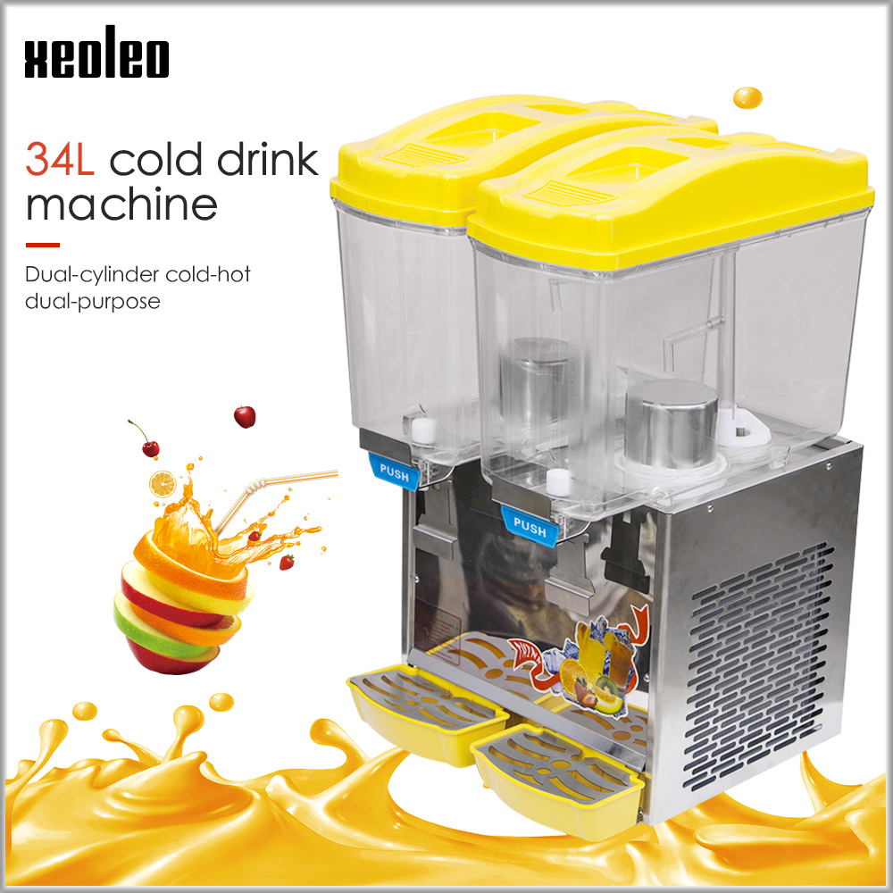 XEOLEO Double Jars Cold Drink Machine 17L*2  Fruit Juice Dispenser Beverage Machine 280W Heating 1000W Cool Beverage Maker