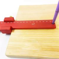 T type Measuring Ruler Straight Rule Carpentry Ruler Wood Working Tool Aluminum Alloy Square Red Scale(300mm/11.81in)