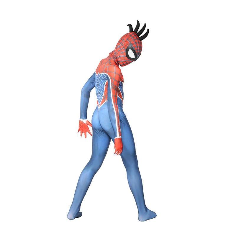 Alta calidad niños araña-Punk Geddon 3D impresión piel apretado Spiderman partido Zentai traje niños Halloween Cosplay carnaval disfraz