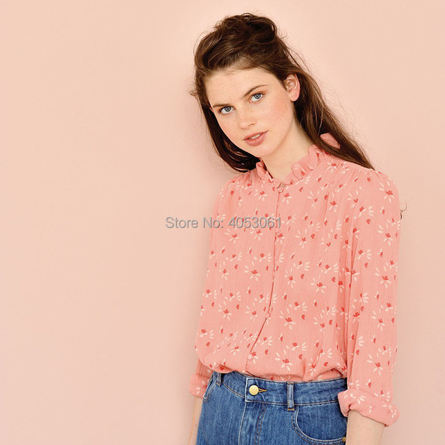 af5a3c238388 Top Quality 100% Viscose Ruffle Neck Pink Floral Print Blouse Shirt -  2019ss New Women/Ladies Long Sleeve Printed Blouse Top