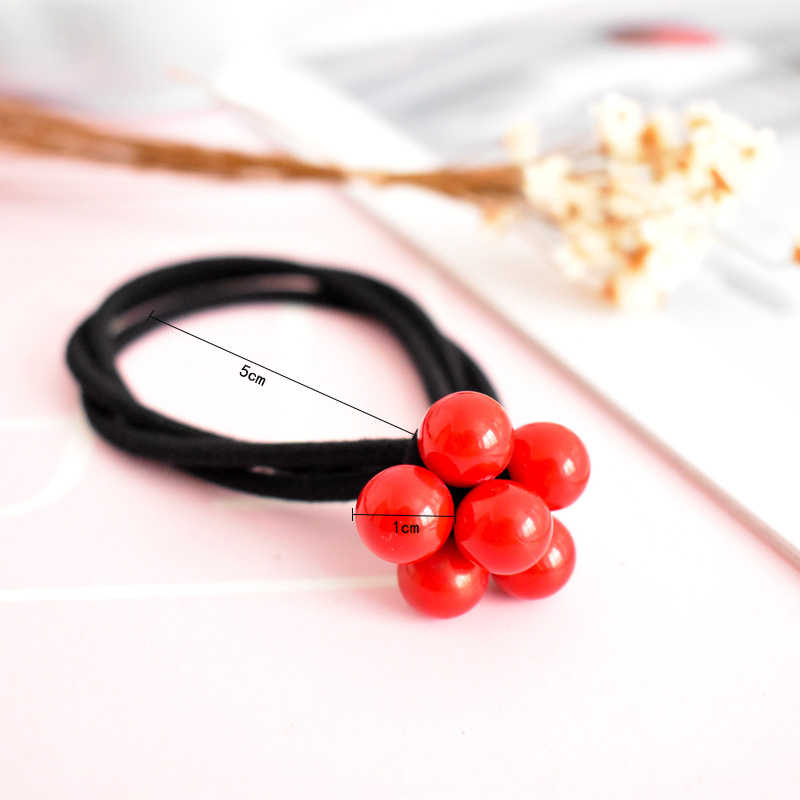 Knot Newest Hot Sale Hair Accessories High Quality Elastic Hair band Girls 1PC three-in-one Hair Rope Korean Women Red Beads