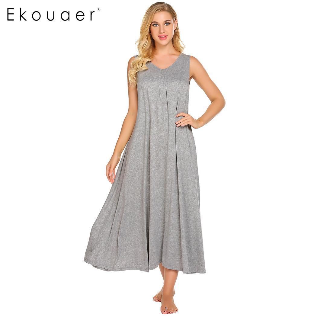 Ekouaer Women Long   Nightgown   Chemise   Sleepshirts   V-Neck Sleeveless Solid A-Line Loose Nightwear Casual Home Dress
